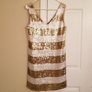 Taupe, Gold, White Sequin Stripe Dress - S - NWT